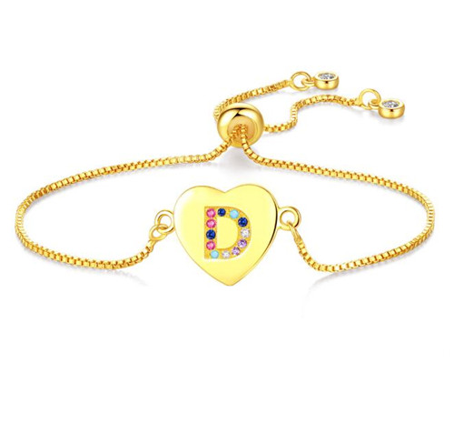 Adjustable initial bracelets personalised colorful CZ heart charm jewelry