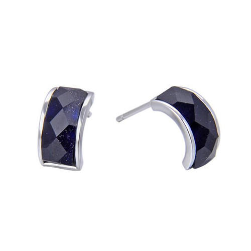 Geometry arc stud earrings S925 sterling silver created agate earrings studs for women silver earrings wholesale