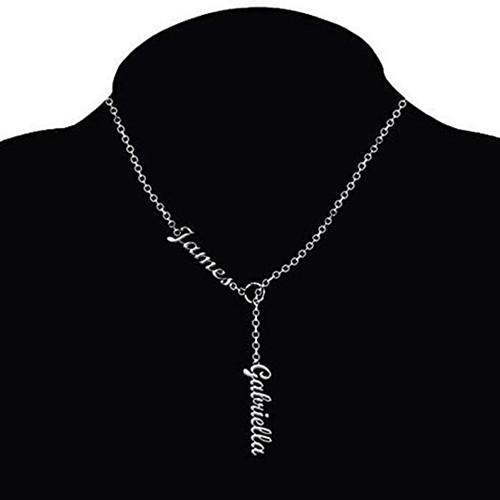 925 sterling silver vertical name drop pendant necklace personalized jewelry