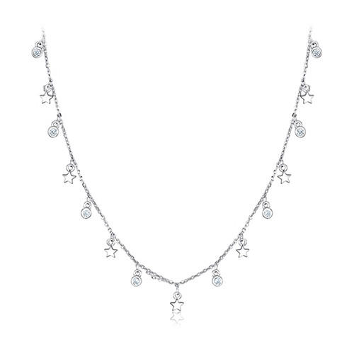 925 sterling silver jewelry CZ charm pendant tiny stars choker necklace wholesale online china