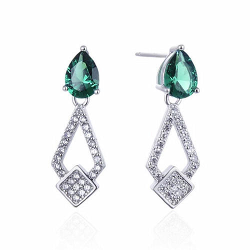 Fine jewelry earrings sterling silver earrings set diamonds gangle drop green earrings studs wholesale