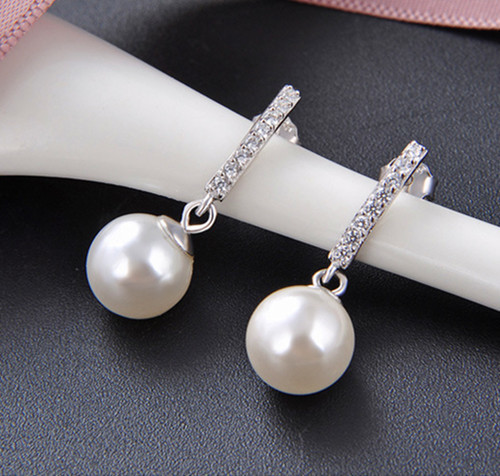 Sterling silver large pearl drop earrings wholesale