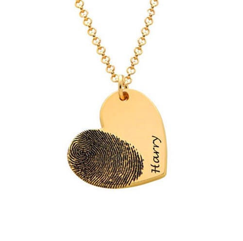 Customized name engraved heart pendant footprint necklace in 18k gold plating