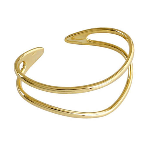 Adjustable size open design jewelry 925 silver gold plated fashion bangles