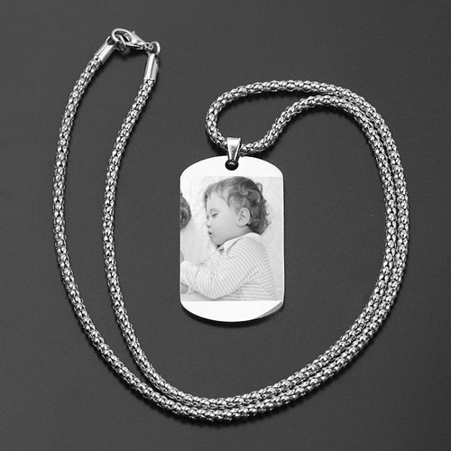 Custom photo engraved dog tag image necklace in sterling silver gift for husband