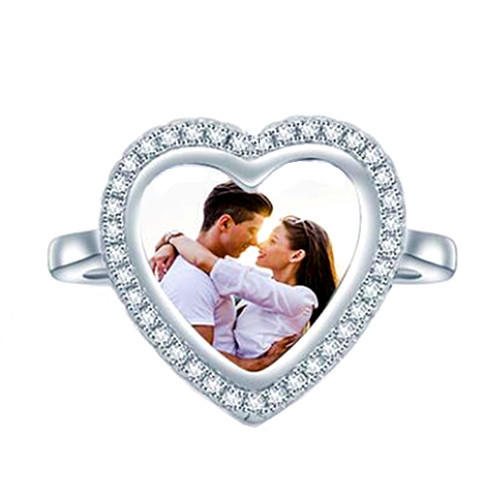 925 sterling silver image engraved open ring personalized photo heart ring custom made with any picture