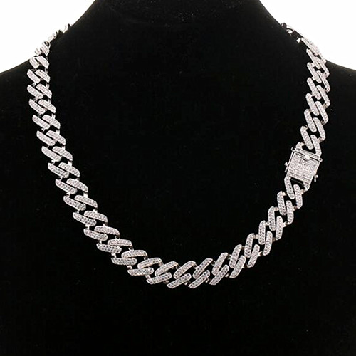 Wholesale multicolor full mirco cubic zirconia setting cuban chunky chain choker necklace