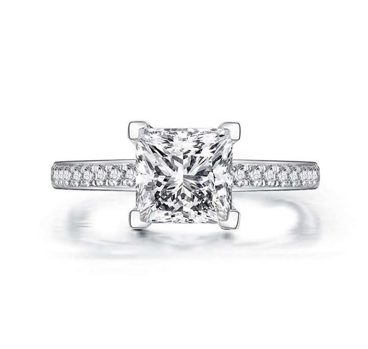 1.6 carat princess-cut diamonds engagement ring sterling silver band for women