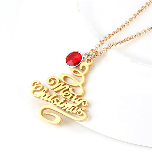 Tree shaped jewelry custom nameplate pendant Christmas jewellery gift wholesale