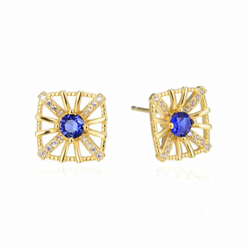 Gold color pure silver jewelry diamond earrings studs women cubic zirconia fine jewelry