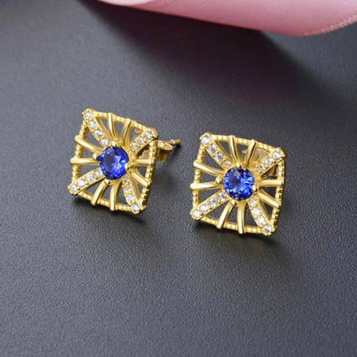 Gold plated diamond studs earrings in sterling silver wholesale