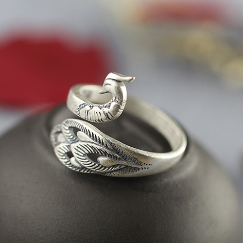 Adjustable 925 sterling silver antique peacock shaped ring CZ open design finger rings peacock jewellery collection wholesale online
