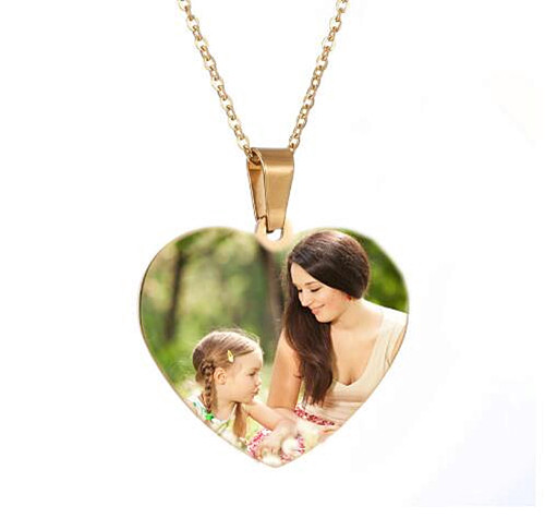 Epoxy resin jewelry wholesale customized heart pendant full color picture necklace