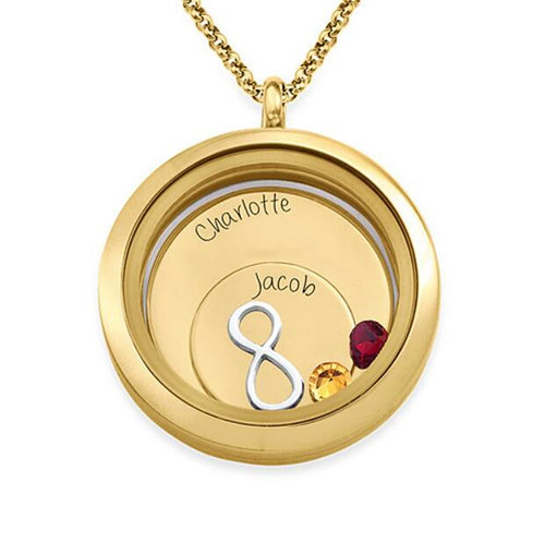 Personalized delicate heart shape memory floating locket infinity necklace with names and birthstones in 925 sterling silver