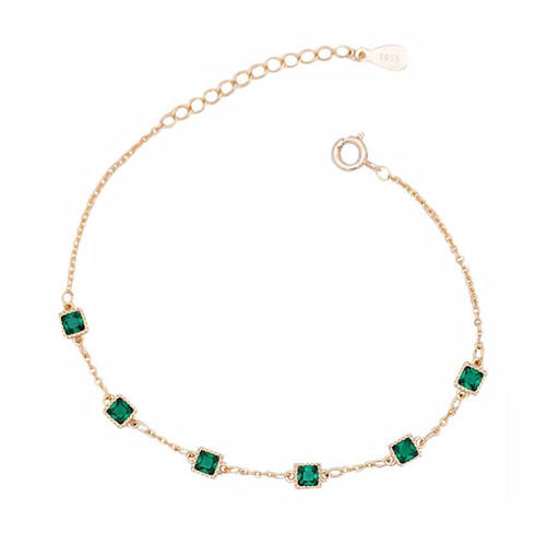 Adjustable emerald bracelet jewelry square green zircon charm yellow gold plated chain 925 sterling silver link bracelets for women jewelry wholesale from china