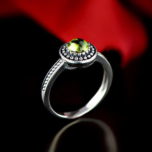 Antique olivine stone jewelry 925 sterling silver vintage cocktail rings for women moonstone band ring wholesale