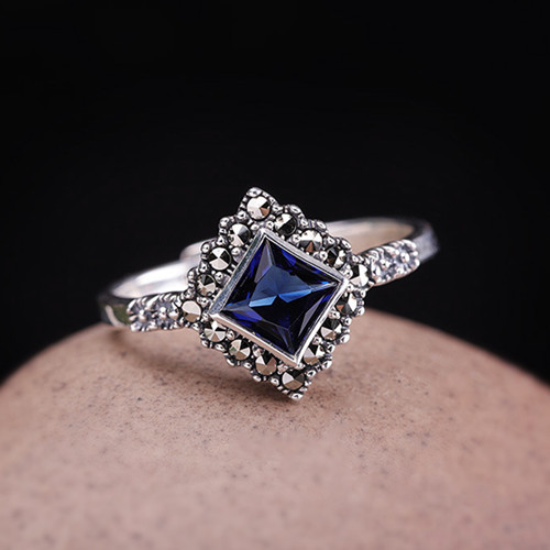 Delicate adjustable blue corundum gemstone jewelry 925 sterling silver quality rhombus diamond shaped engagement ring