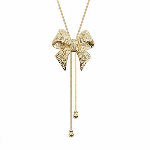 Gold color anqitue diamond bow tie pendant long chain necklace for women