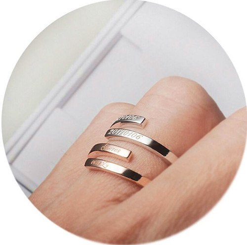 Promise ring for her spiral rings with date twist stackable thumb rings gold plated 925 silver