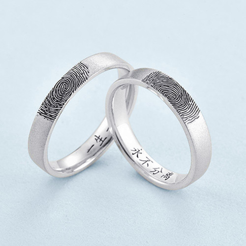 Personalized jewellery actual finger print name engraved ring custom silver memorial fingerprint band couple jewelry