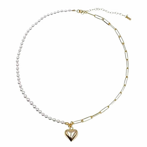 Champagne gold fine jewels heart pendant pearl and silver necklace