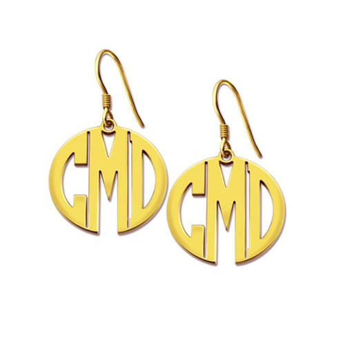 Customized monogram earrings studs silver block letter monogram earrings for women in gold plating