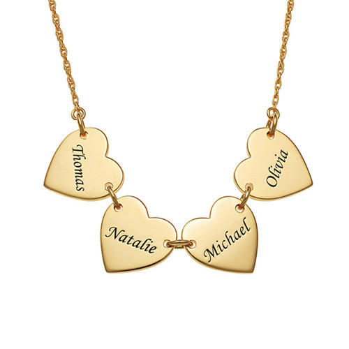 Customized friendship necklace gold plated heart pendant name engraved necklace family sterling silver jewelry