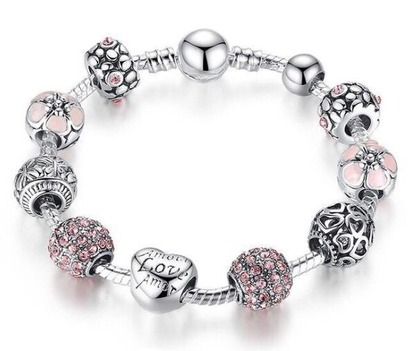 Big glass beads charm bracelets multi crystal cuff bangles for women