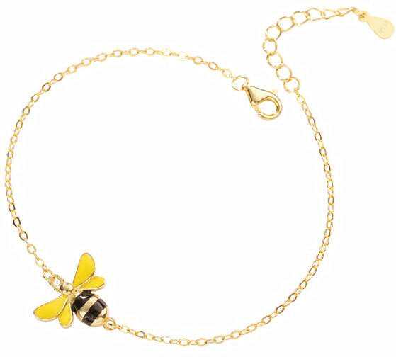 Lovely handmade bee charm bracelet in silver adjusted gold plated cuff bangles
