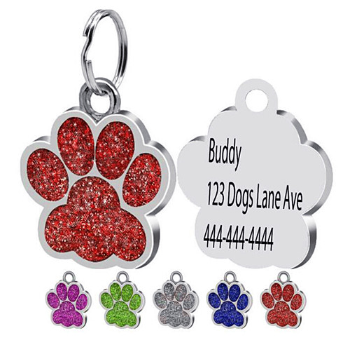 Personalized pet assessory paw shaped address name phone number engraving keychain