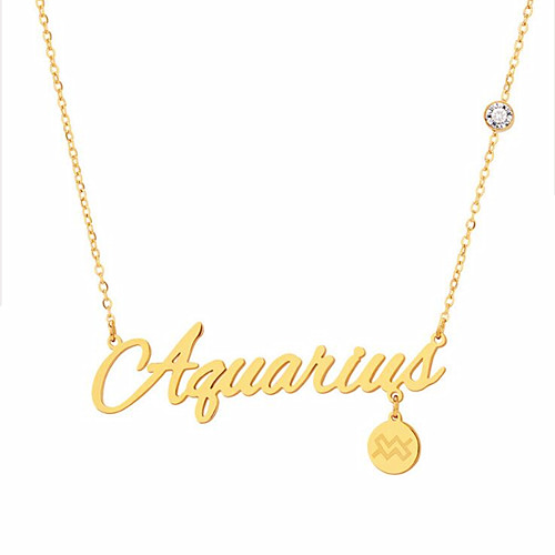 Wholesale 14k gold plating zodiac sign jewelry customized nameplate CZ necklace