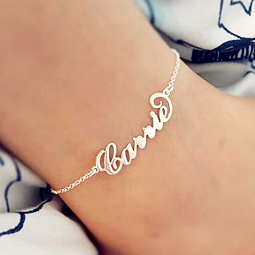 Custom made fashion women jewelry nameplate anklets foot chains wholesale