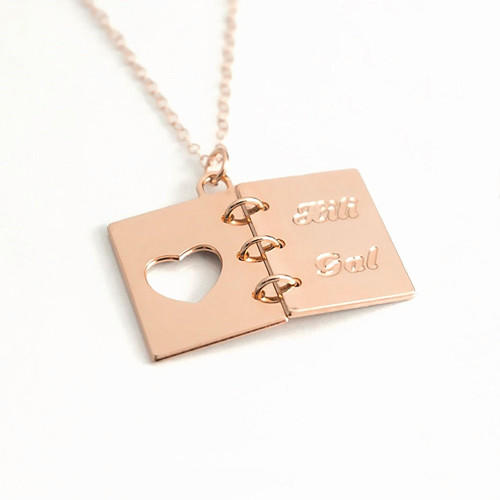 Book necklace engraved with names and dates personalized gift book charm jewellery