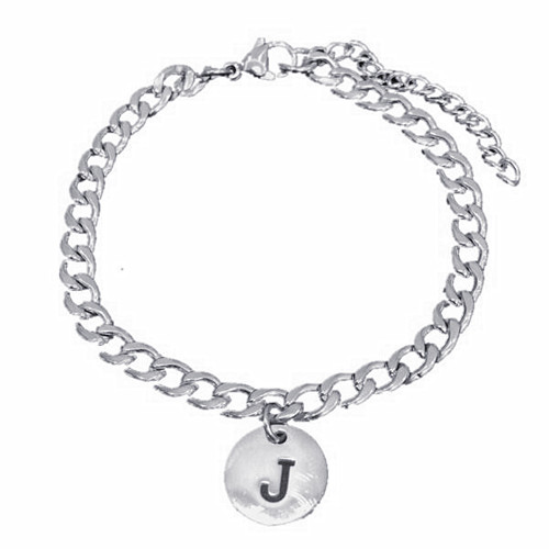 Personalized disc jewelry initial engraving circle charm bracelet with cuban chain