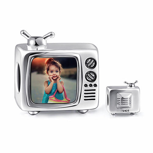 Vintage TV television shape silver charm bracelets - Custom baby photo engraved chain bracelet - Gifts for mom