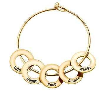 Gold plated creative jewelry personalised name engraving circles cuff bangles