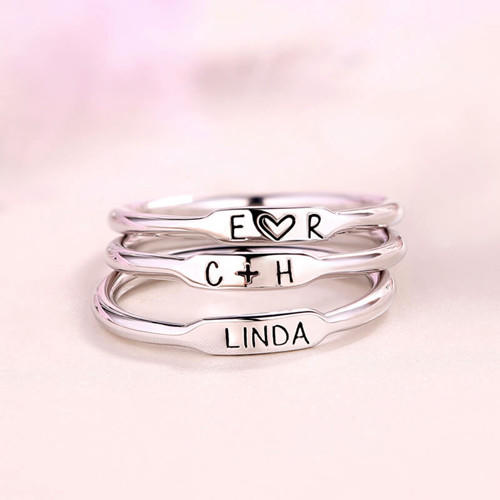 Custom with any name initials ring wedding gift name jewellery skinny rings bridesmaids gift