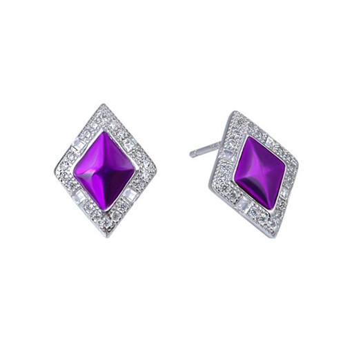 High end silver and amethyst jewelry vintage amethyst stud earrings women sterling silver earrings studs