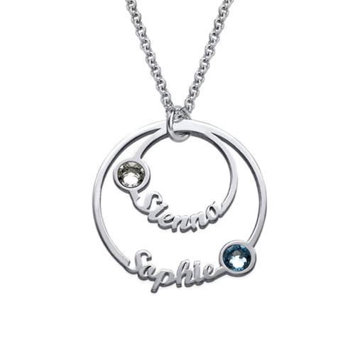 Personalized family names layered 2 disc name pendant couples necklace in sterling silver mothers gifts