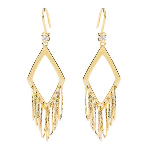 Shiny metal luster fashion jewelry OEM vintage long tassels prismatic earrings for women