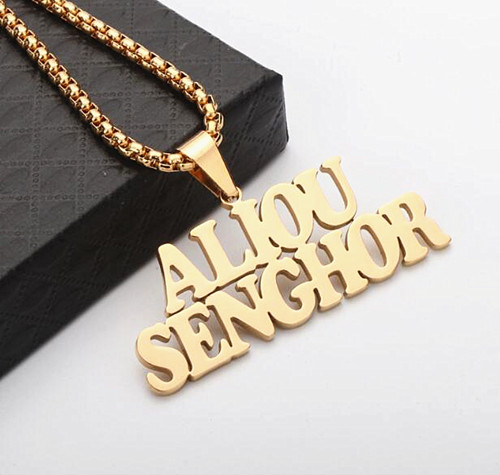 18K gold plating hiphop jewelry unisex nameplate necklace for women wholesale