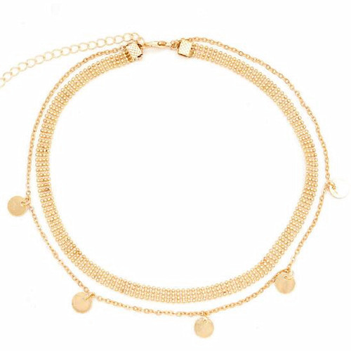 Round tag charm choker necklace multi layers small bead chain jewellery in gold plating
