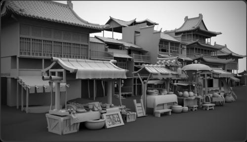 《古代街景》CG数字资产