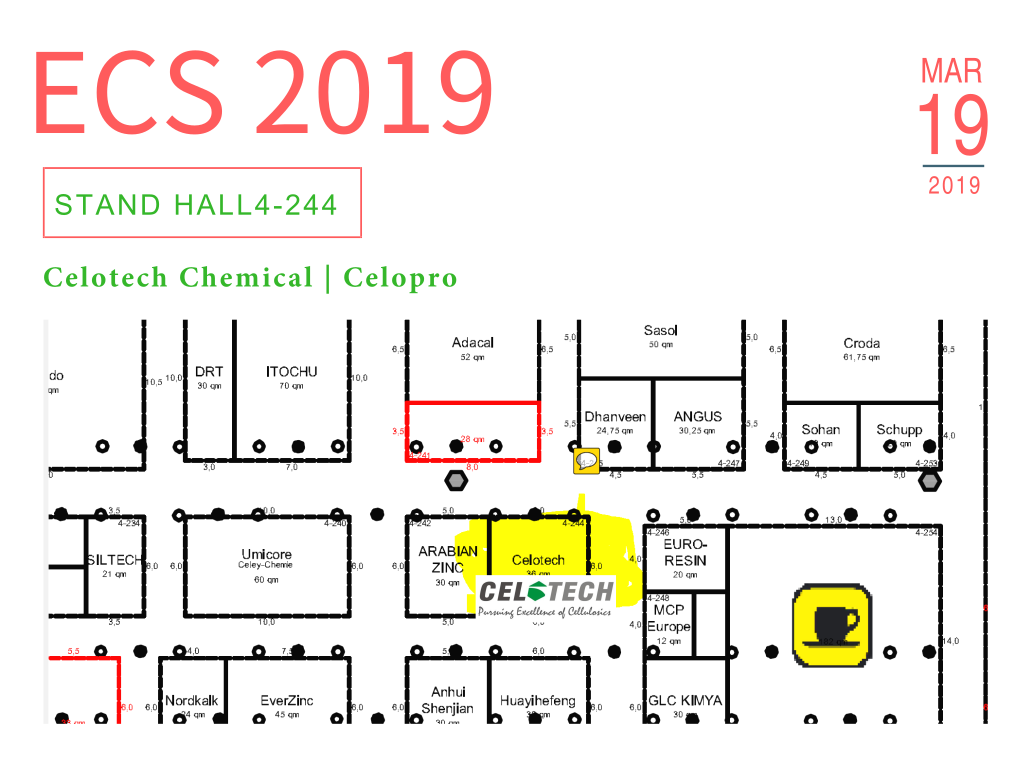 European Coatings Show 2019, ECS2019, Celotech,Celopro, 欧洲涂料展, Coatings Show, ECS, ACS, HEC, HPMC, MHEC, thickeners, paint thickeners