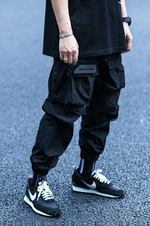 ENSHADOWER隐蔽者国潮皱感抽绳束脚裤男宽松休闲工装裤运动长裤