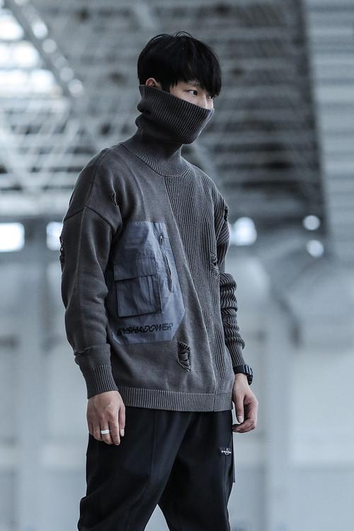 ENSHADOWER隐蔽者异质拼接破坏毛衣男冬季款式高领纯棉套头针织衫