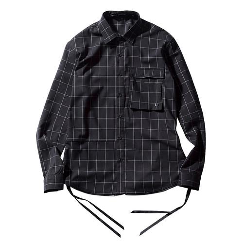 ENSHADOWER隐蔽者2018SS免烫格子衬衫男新款休闲潮牌衬衣青年寸衣