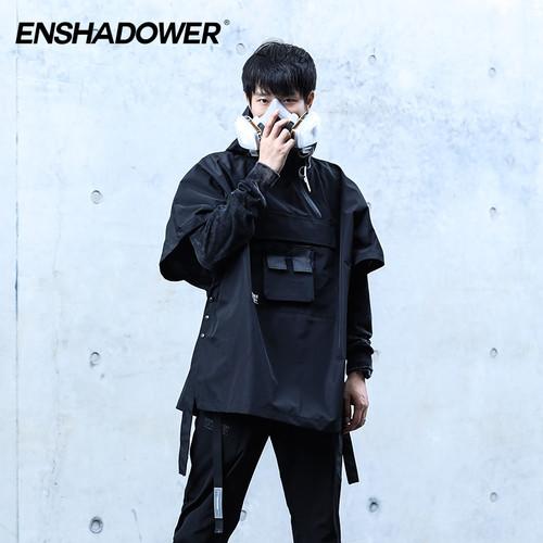 ENSHADOWER隐蔽者机能压胶连帽斗篷宽松防水男装外套潮牌短袖风衣