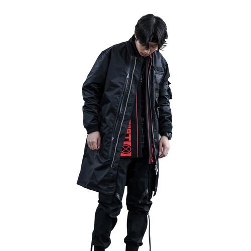 ENSHADOWER隐蔽者潮牌机能长款男士外套防水多拉链空军夹克风衣男