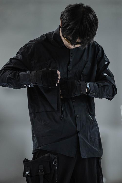 ENSHADOWER隐蔽者潮流脏洗衬衫男复古宽松大口袋工装休闲衬衣外套